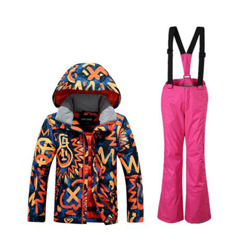 Gsou Snow Outdoor Sport Wear Skiing Snowboard Boys Super Warm Clothing Suit Children Kids Ski Jacket+Pants Windproof Waterproof