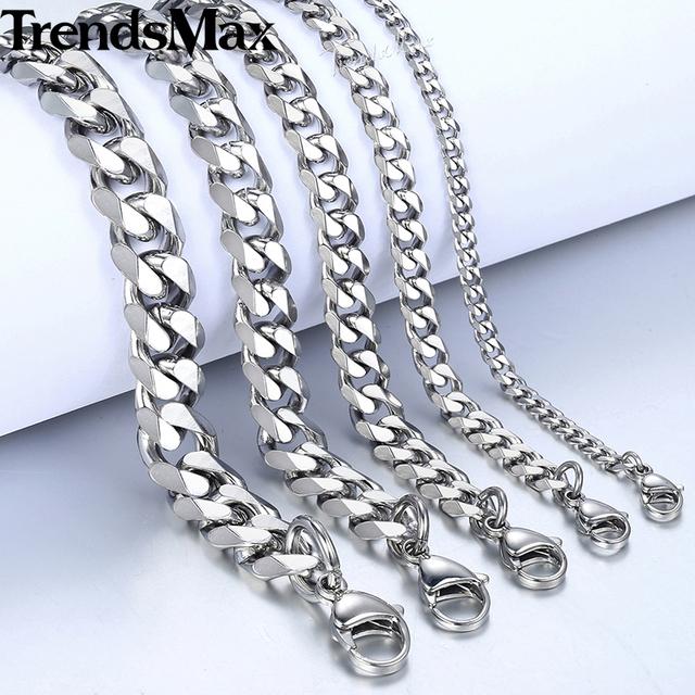 TrendsMax 3-11mm Men's Cuban Link Stainless Steel Bracelets