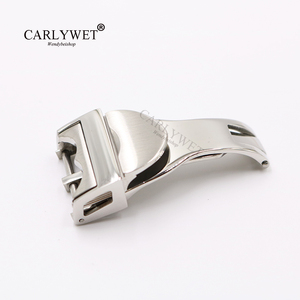 Image 1 - CARLYWET 18mm Silver 316L Stainless Steel Watch Band Buckle Deployment Clasp For Less 2.5mm For Tudor Rubber Leather Strap Belt