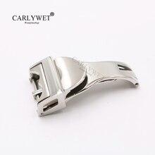 CARLYWET 18mm srebrny zegarek ze stali nierdzewnej 316L klamra z solidnym zapięciem na mniej 2.5mm dla Tudor gumowy pasek skórzany