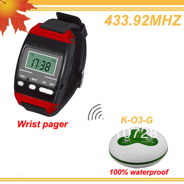 433.92MHZ Convenient calling Billing system with 1 mobile host pager and 20pcs bell buzzers DHL free shipping