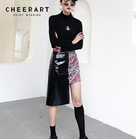 Cheerart Bodycon Wrap Skirt Patchwork PU Leather Mini Skirt Women Irregular Skirt Asymmetrical High Street Fashions Clothes