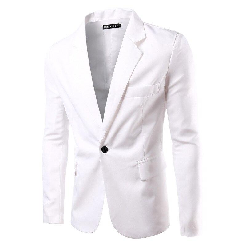 AI men WANT, новинка, 8 цветов, мужские тонкие свадебные костюмы для жениха, для подростков, модный синий деловой костюм, пиджаки, мужские, винно-красные блейзеры - Цвет: Белый