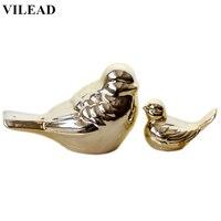 Tamanho 5.5 ''3 2 VILEAD'' Magepies Estatuetas de Cerâmica Chapeamento de Ouro Pássaro Aves Decoração Modelo Animal Criativo Ornamento Casa decoração|Estatuetas e miniaturas| |  -