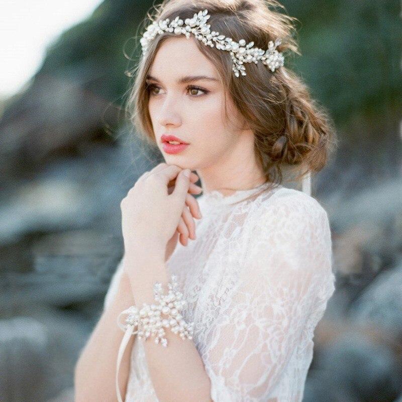 Handmade Women Crystal Pearl Hair Vine Headbands Bridle Pearl Crystal Weddings