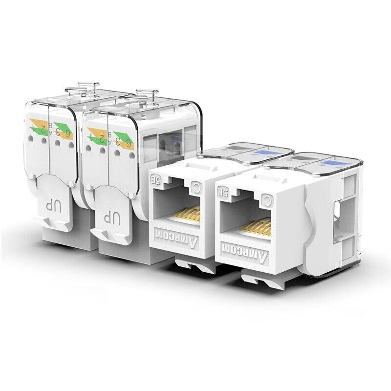 CAT6/CAT5e инструмент меньше трапецеидальное гнездо, AMPCOM RJ45 UTP Keystone модуль адаптера без Пробивной требуется инструмент муфты-1/2/10 шт. в комплекте - Цвет: CAT5e White