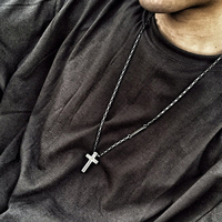 BLINDREASON Cross Necklaces Pendants For Men Stainless Steel Retro Silver Plated Male Pendant Necklaces Prayer Jewelry