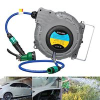 10m Wall Mounted Automatic Retractable Garden Hose Pipe Reel Water Car Washer Clean Sprayer Irrigation Watering Kit Equipment