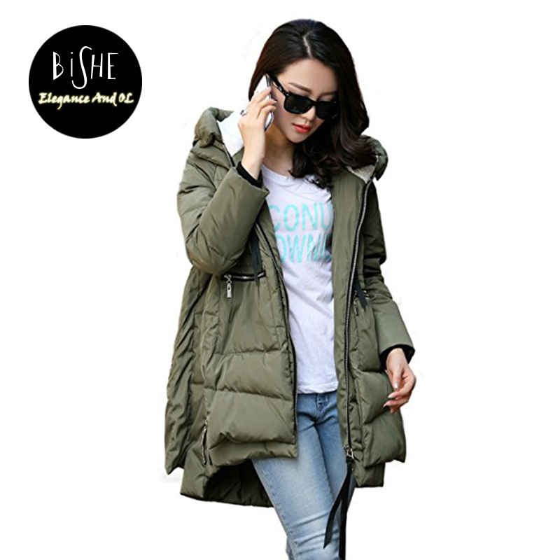 BiSHE 2017 Winter Jacket Women'S Thickened Puffer Parka With Hood Outerwear Plus Size Loose Coat Cotton-Padded Jackets & Coats