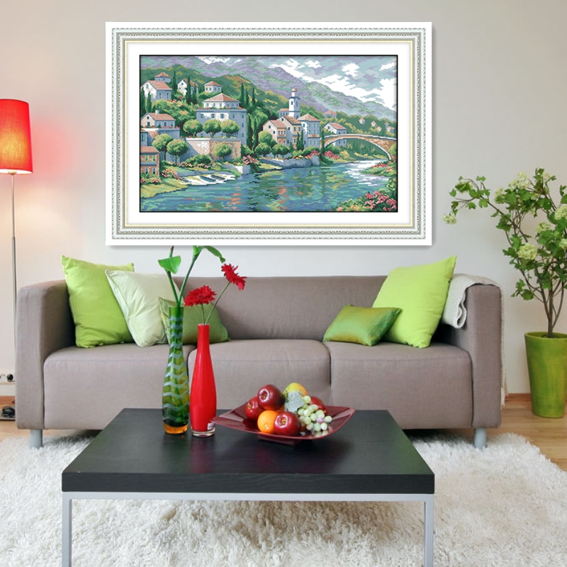 River Town Home Decor Chinese Counted Cross Stitch Patterns Kits DMC Cross Stitch Fabric kit mezzo punto Embroidery Cross Sets