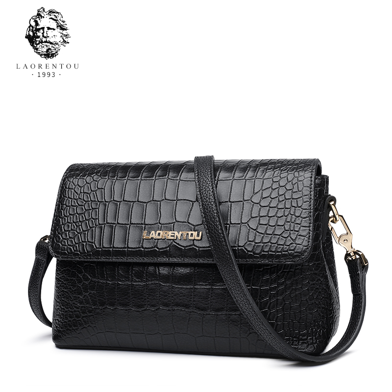Laorentou Brand Women Alligator Crossbody Bag Ladies' Genuine Leather Vintage Shoulder Bag New Arrivals Valentine's Day Gift