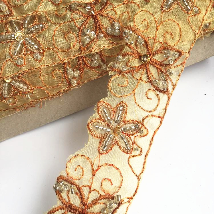yellow Crystal Rhinestone Wedding dress accessories Pearl Beaded Lace Trim fabric applique patches Sew on 3*200cm