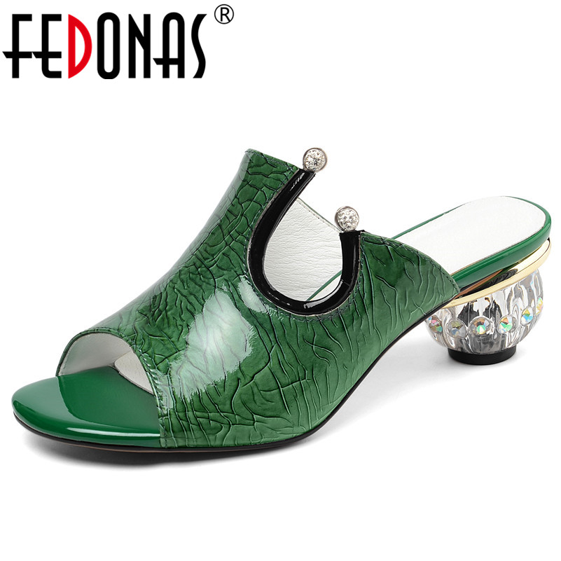 FEDONAS Classic Genuine Leather Patent Leather Women Sandals Summer New Peep Toe High Heels Shoes Woman Slippers Party ShoesFEDONAS Classic Genuine Leather Patent Leather Women Sandals Summer New Peep Toe High Heels Shoes Woman Slippers Party Shoes