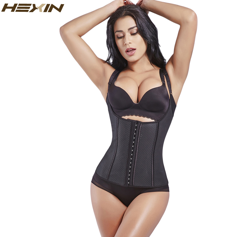 HEXIN Waist Trainer Sweat Vest Latex 100% Waist Shaper Cincher Corsets Weight Loss Shapewear  Body Shapers Adjustable Straps