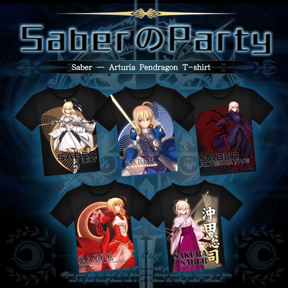 Japonské tričko Anime Fate Zero Sabre Černé polyesterové tričko T-Shirt Letní Aktivní Tričko Módní Pánské Dámské Značky Tees