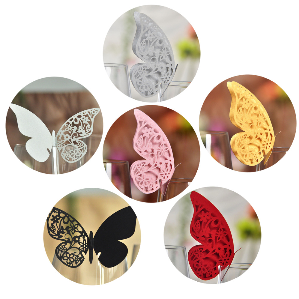 50pcs Butterfly Place Escort Wine Glass Cup Paper Card Wedding Party Home Decoration White Silver Pink Gold Red Black Name Cards In Disposable