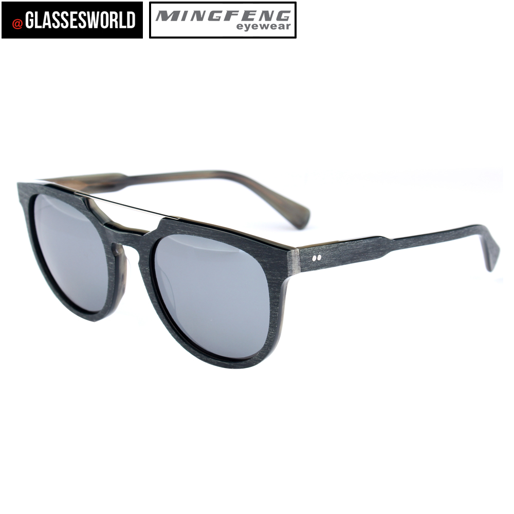 Fashion polarized UV400 pilot sunglasses with wood like sun glasses