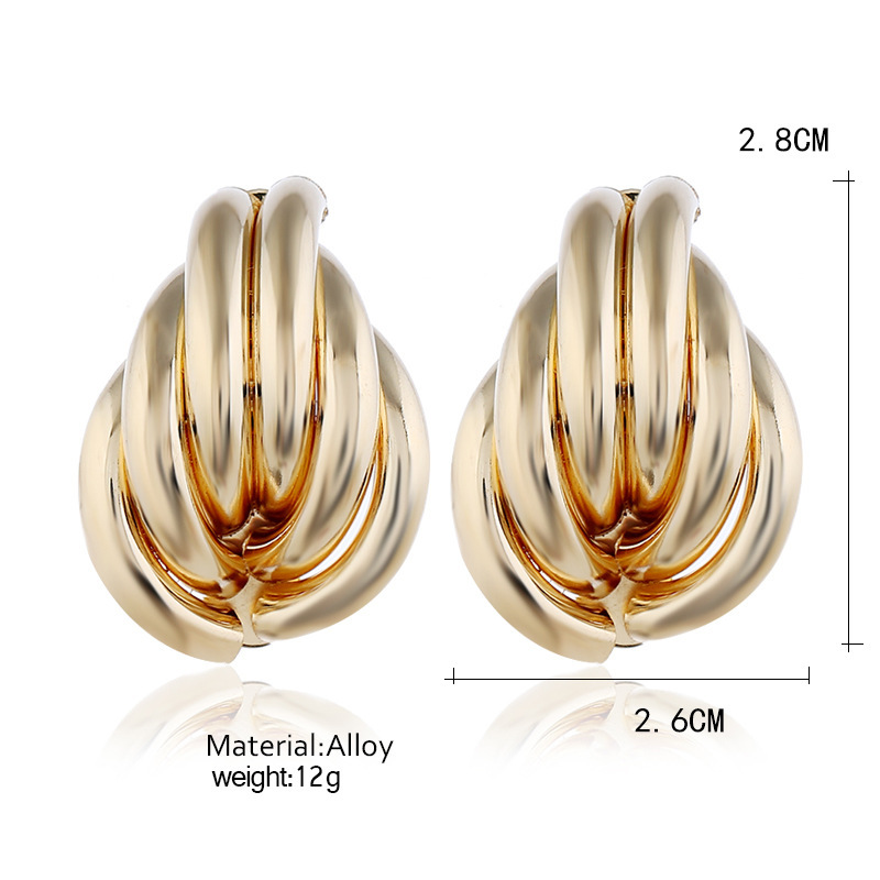European and American disco style exaggerated punk rock metal leaf earrings for women 2019 jewelry ST32 in Stud Earrings from Jewelry Accessories