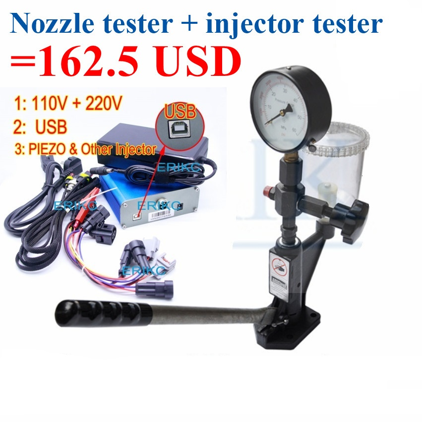 ERIKC Protable CRI800 Electromagnetic Injektor tester and Piezo Common Rail Injector Tester Tool Plus S60H Nozzle Validator