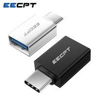 Cep telefonları ve Telekomünikasyon Ürünleri'ten Cep Telefonu Kabloları'de EECPT USB Tipi C OTG Adaptör USB C için USB 3.0 OTG Tipi C Dönüştürücü için Macbook Samsung S10 s9 Huawei Mate 20 P20 USB C Bağlayıcı
