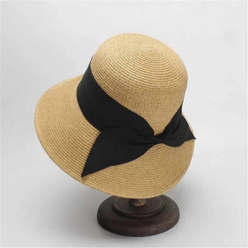 728ba525d 2019 Retro Round Top Big Straw Hat Ladies Sun Hats Travel Holiday ...