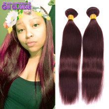 Colored Human Hair 1 Piece Only Bohemian Straight 99j Burgundy Hair, 7A Dark Red Hair Weave Single Bundle Brazilian Hair