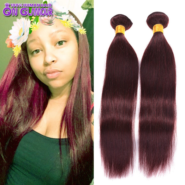 Colored Human Hair 1 Piece Only Bohemian Straight 99j Burgundy Hair
