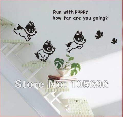 encantador de la historieta del perro cachorro mariposa tatuajes de pared decoracin del hogar pegatinas arte