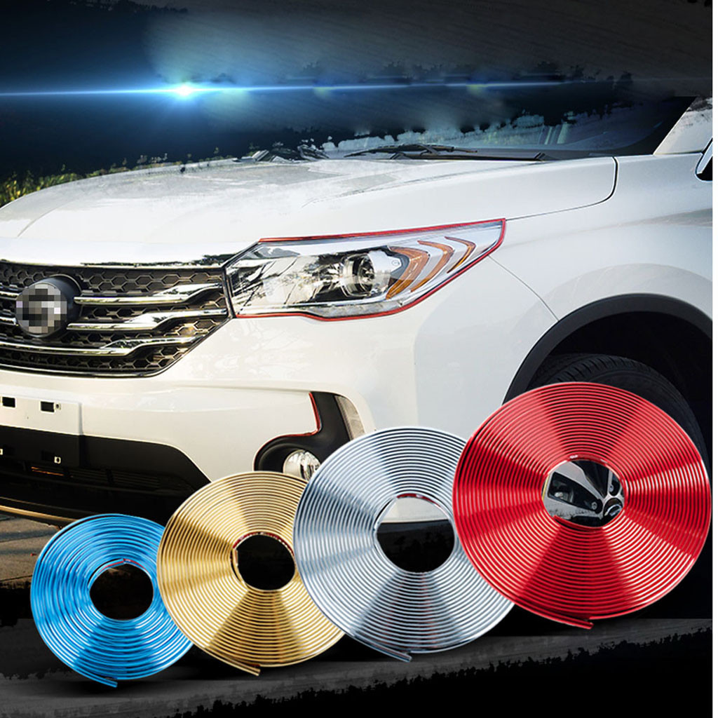 Car Decoration Strips 8m Car Interior Decor Wheel Edge Protector Ring Tire Strip Guard Rubber Sticker Car Accessories Styling