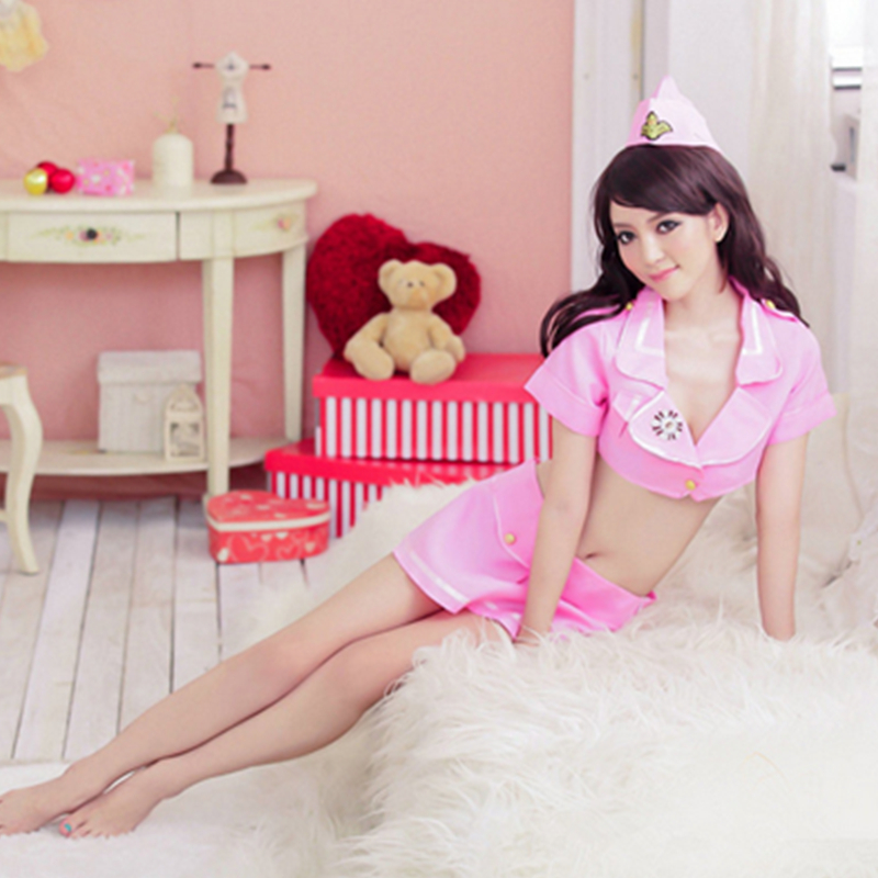 Hot Sale Sexy Student Sailor Nurse Pink Dress Costume Set Fantasias Erotic Cosplay Clothing Student Uniform Tempt Mini Skirt