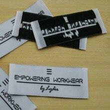 1000 шт на заказ белая Дамасская ткань тканая этикетка для одежды концевые складные этикетки для куртки 6,5*2,5 см