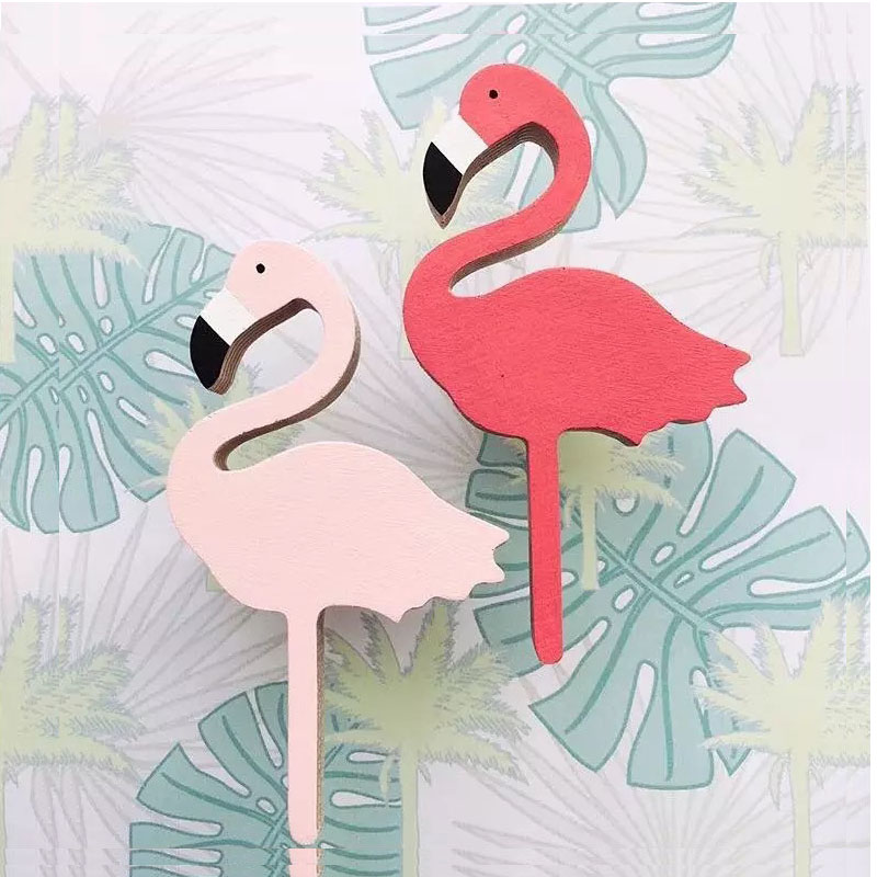 IHOMEE Cute Wood Flamingo Wall Stickers Hooks For Childrens Bedroom Decorative 3D Wall Decal Kids Room Decoration Home Decor