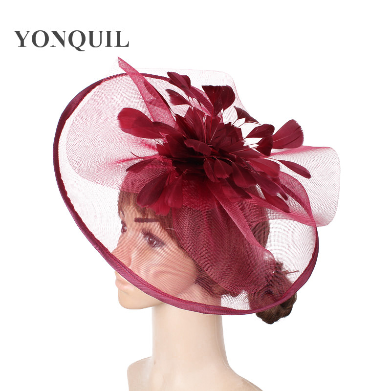 Wine Red Fascinator Feather Flower Wedding Hair Clips And Headbands Women Party Royal Ascot Bridal Church Show Hat Great Quality
