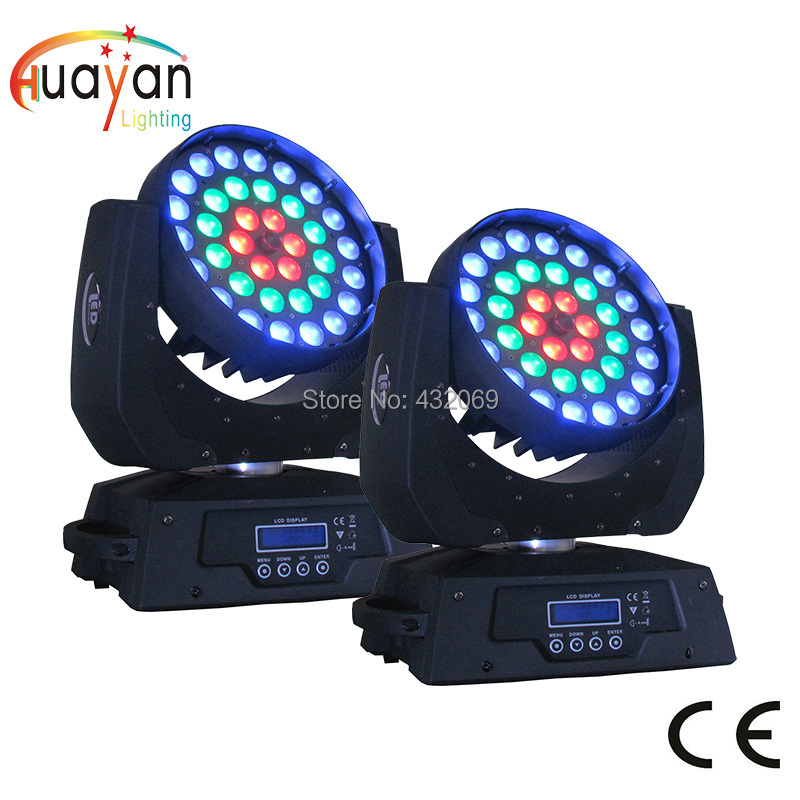 Free Shipping 2PCS/PACK 36 Full color focus moving head RGBWA UV 12W 6in1 led wash zoom DJ DMX Wash Led Display 3 rings control