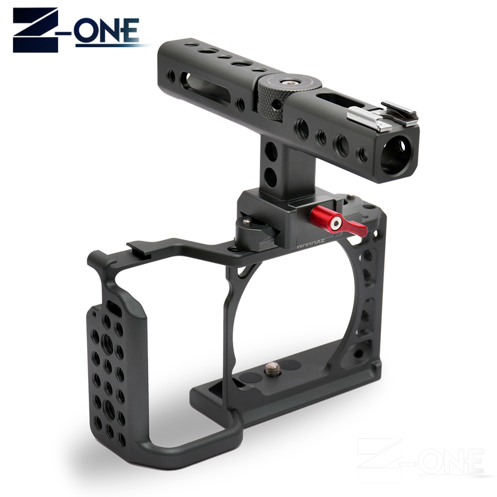 Camera Cage for Sony A6000 A6300 A6500 ILCE-6000 / ILCE-6300 / ILCE-A6500 with NATO Rail Handle Grip with 1/4 and 3/8 Threaded waraxe a6 camera cage for sony ilce 6000 ilce 6300 ilce a6500 with 1 4 and 3 8 threaded holes cold shoe base free shipping