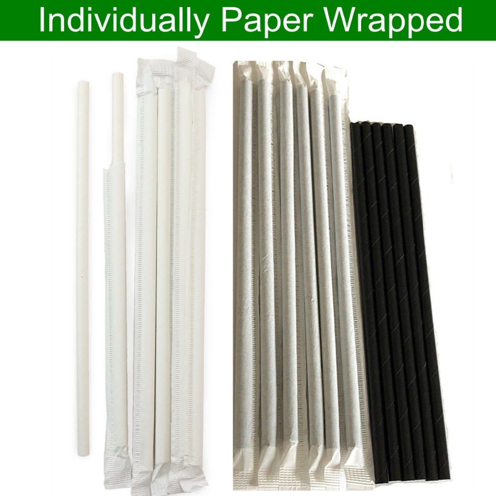 6000 pcs Individually Paper Wrapped Paper Straws Wholesale Solid Plain White Black Party Drinking Restaurant Coffee