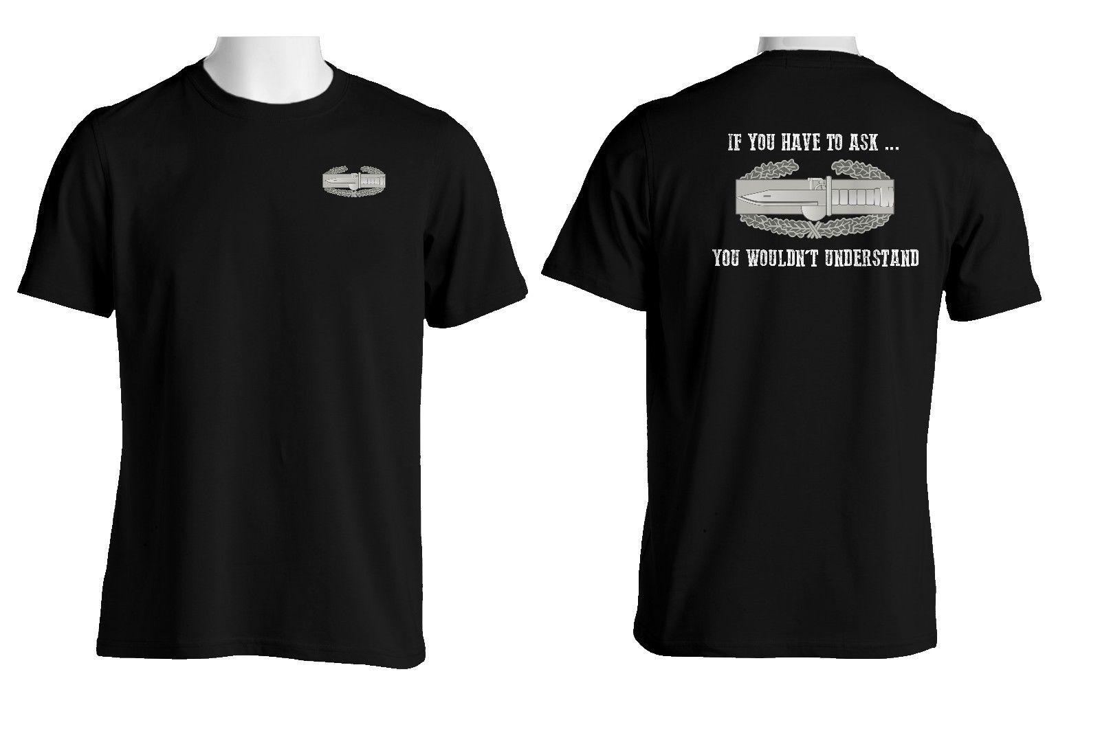 2018 Summer Hot Sale Men T-shirt US Army Combat Action Badge (CAB) Cotton Shirt-1822