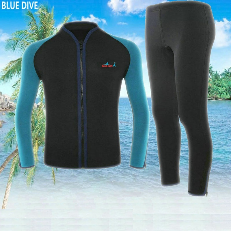 2mm Men Neoprene jacket Diving Swimsuit Elastic Zipper Blue Pants Scuba Diving Suit Swimwear Cold-proof Surfing Neoprene Suit