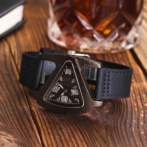Image 3 - ALK femmes montre en bois dames montres à Quartz femme mâle bambou bracelet en cuir montre bracelet unisexe Triangle bois horloge Dropshipping