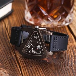 Image 3 - Women Wooden Wrist Watch Black Ladies Quartz Watches Female Bamboo Leather Wristwatch Fashion Triangle Wood Clock Dropshipping