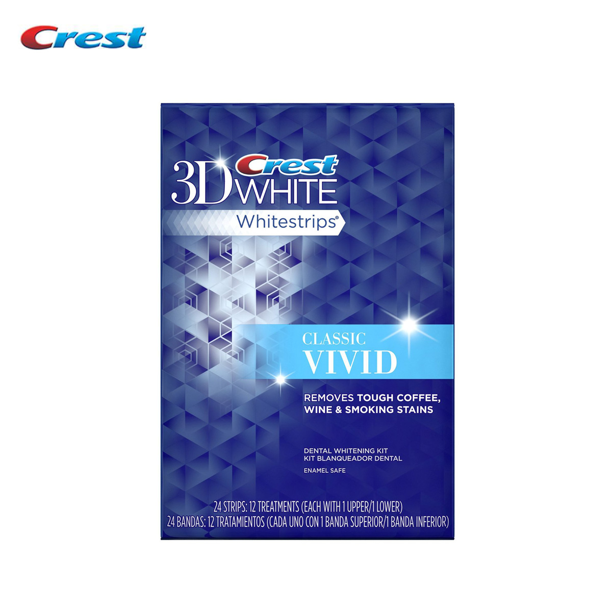 12 treatments/ 24 strips Crest 3D WHITE Classic Vivid Whitestrips Professional Tooth Whitener Oral Care Teeth Whitening 10 pouches crest teeth whitening strips advanced vivid 3d white original oral hygiene tooth whitestrips no box free shipping