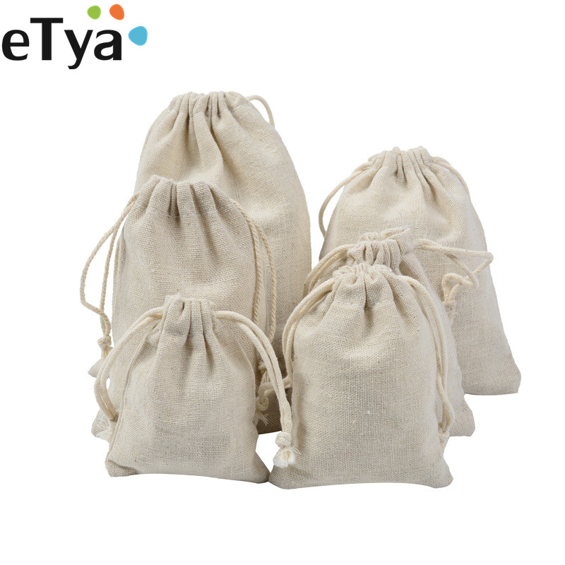 ETya Cotton Linen Drawstring Bag Women Travel  Package Bag Cosmetic Wash Cloth Coin Bag Christmas Gift Pouch Case