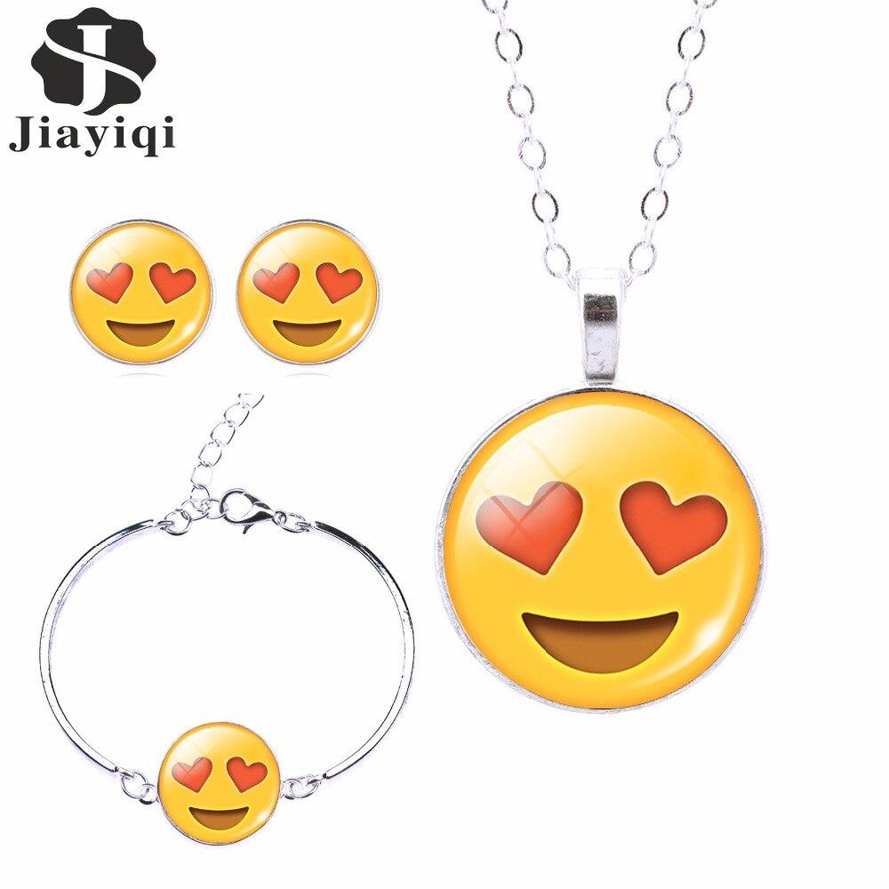 2017 Mode Frauen Emoji Schmuck Set Stud Ohrringe & Mond Anhänger Halskette Charme Manschette Armbänder & Armreifen Joyas De Plata