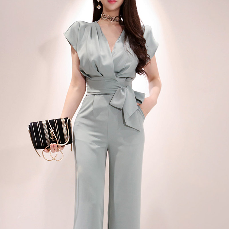2019 Summer Autumn 2 Pieces Set High Quality Female Blazers Suits Solid Women Pant Suits V-Neck Blazer Pant Female Trousers Suit