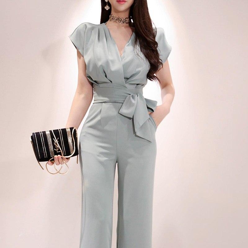 2020 Summer Autumn 2 Pieces Set High Quality Female Blazers Suits Solid Women Pant Suits V-Neck Blazer Pant Female Trousers Suit
