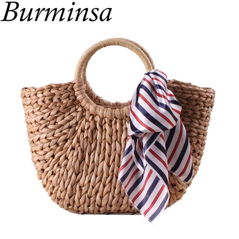 Burminsa Summer Pendent Straw Bags Women Hand Woven Beach Bags Ladies Causal Tote Shopping Bags High Quality Holiday Travel Bags
