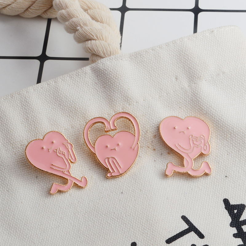 100% Quality 3pcs/set Cartoon Pink Heart Gesture Brooch Enamel Pin Badge Cute Brooch Hat Backpack Shirt Lapel Pin Buckle Gift For Women Lover Wide Selection;