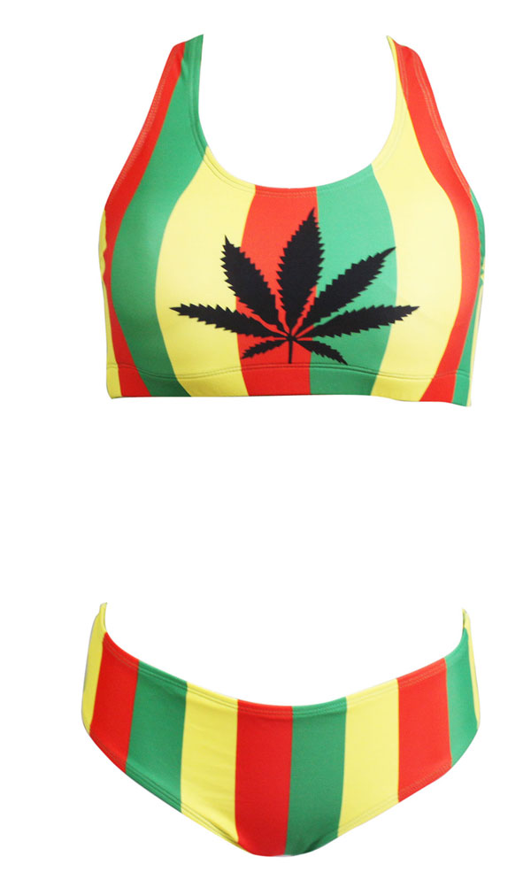 386a1fe06bd42 Women s Fashion Sport Africa Rasta Jamaica Two Pieces Bikini Swimsuit  Swimwear-in Two-Piece Suits from Sports   Entertainment on Aliexpress.com