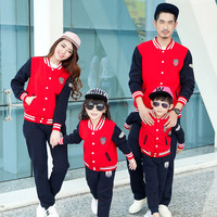 Famli 1pc Mother Daughter Father Son Autumn Baseball Jacket+pant Outfits Family Dad Son Mom Kids Casual Solid Cotton Sportsuit