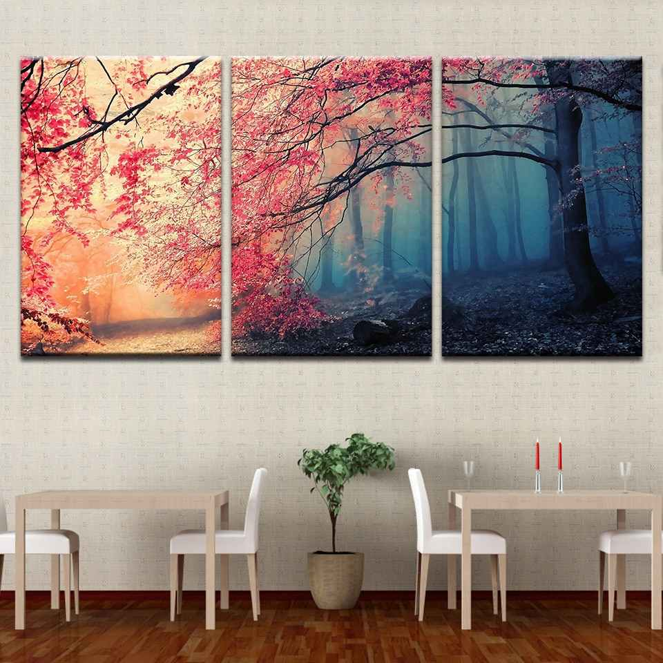 Home Decor Modular Wall Art Poster Framework Canvas Prints Painting Red Tree Scenery Pictures or Modern Bedroom For Living Room
